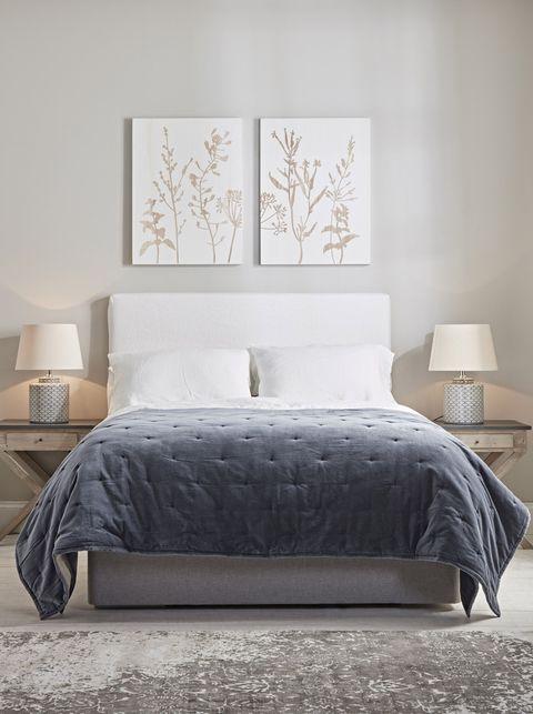 lightweight velvet  linen quilt   french blue