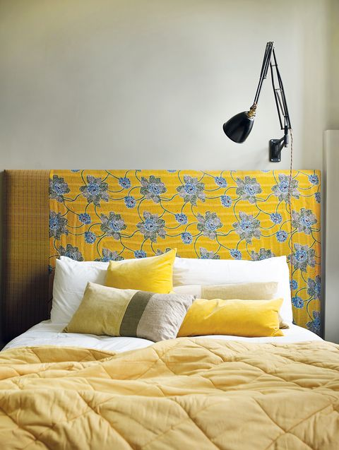 Room, Yellow, Interior design, Bed, Wall, Textile, Furniture, Bedding, Bedroom, Linens,