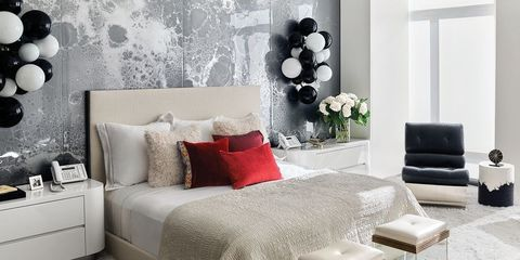 Bedroom, Furniture, Room, Bed, Interior design, Red, Wall, Property, Bed sheet, Black-and-white,