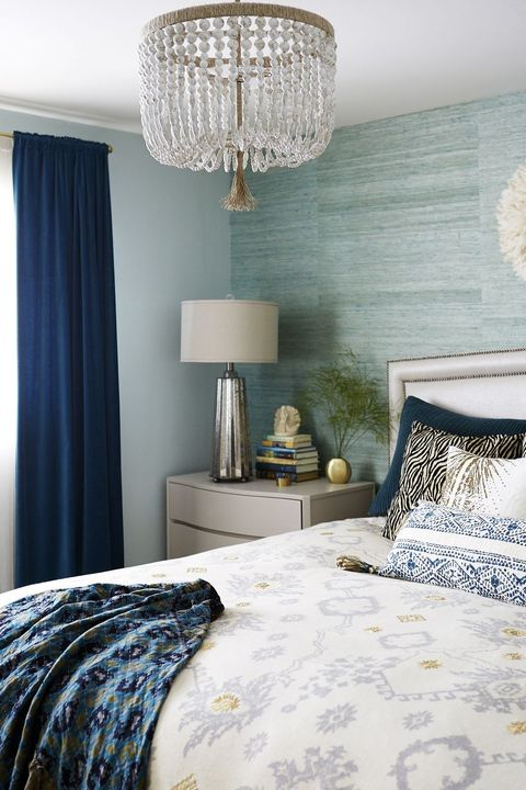 Bedroom, Furniture, Room, Interior design, Bed, Lampshade, Blue, Bedding, Curtain, Lighting,