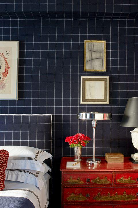 Room, Wall, Red, Living room, Tile, Interior design, Furniture, Table, Wallpaper, Design,