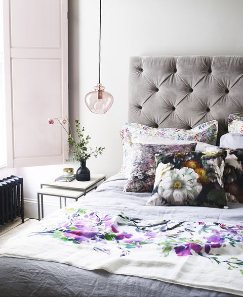 contemporary bedroom with velvet and florals
