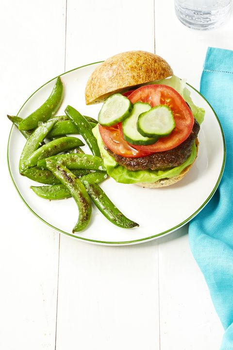 beef and mushroom burgers with snap pea fries  cookout menu