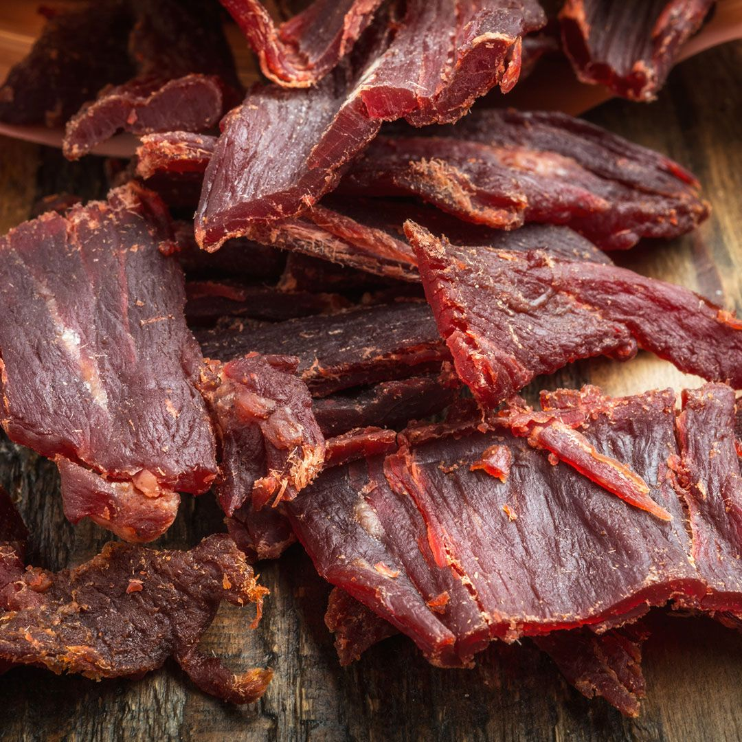 """Beef jerky Sure, this delish snack conveniently gives you access to protein on the run, but most jerkies are chock-full of sodium to preserve the meat. """"The increased sodium intake can cause water retention and bloating,"""" says Rebecca Lewis, R.D., in-house dietitian at HelloFresh ."""