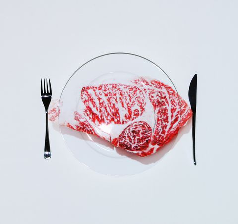 Beef on plate of table