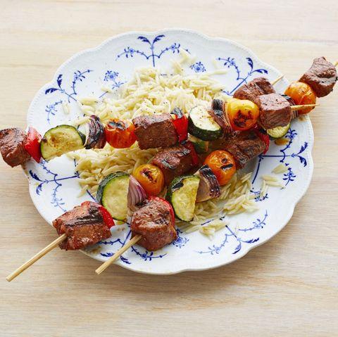 beef vegetable kebabs with orzo