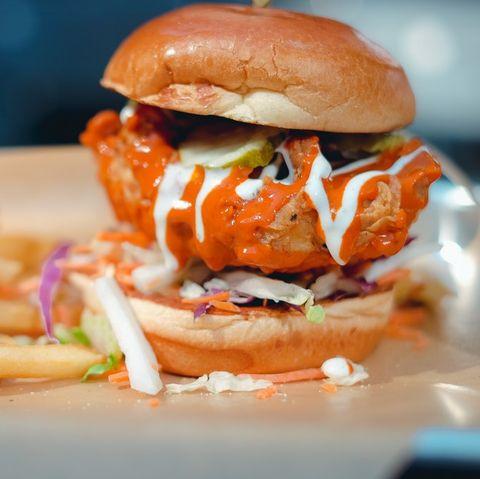 Dish, Food, Junk food, Hamburger, Cuisine, Fast food, Slider, Ingredient, Veggie burger, Cheeseburger,