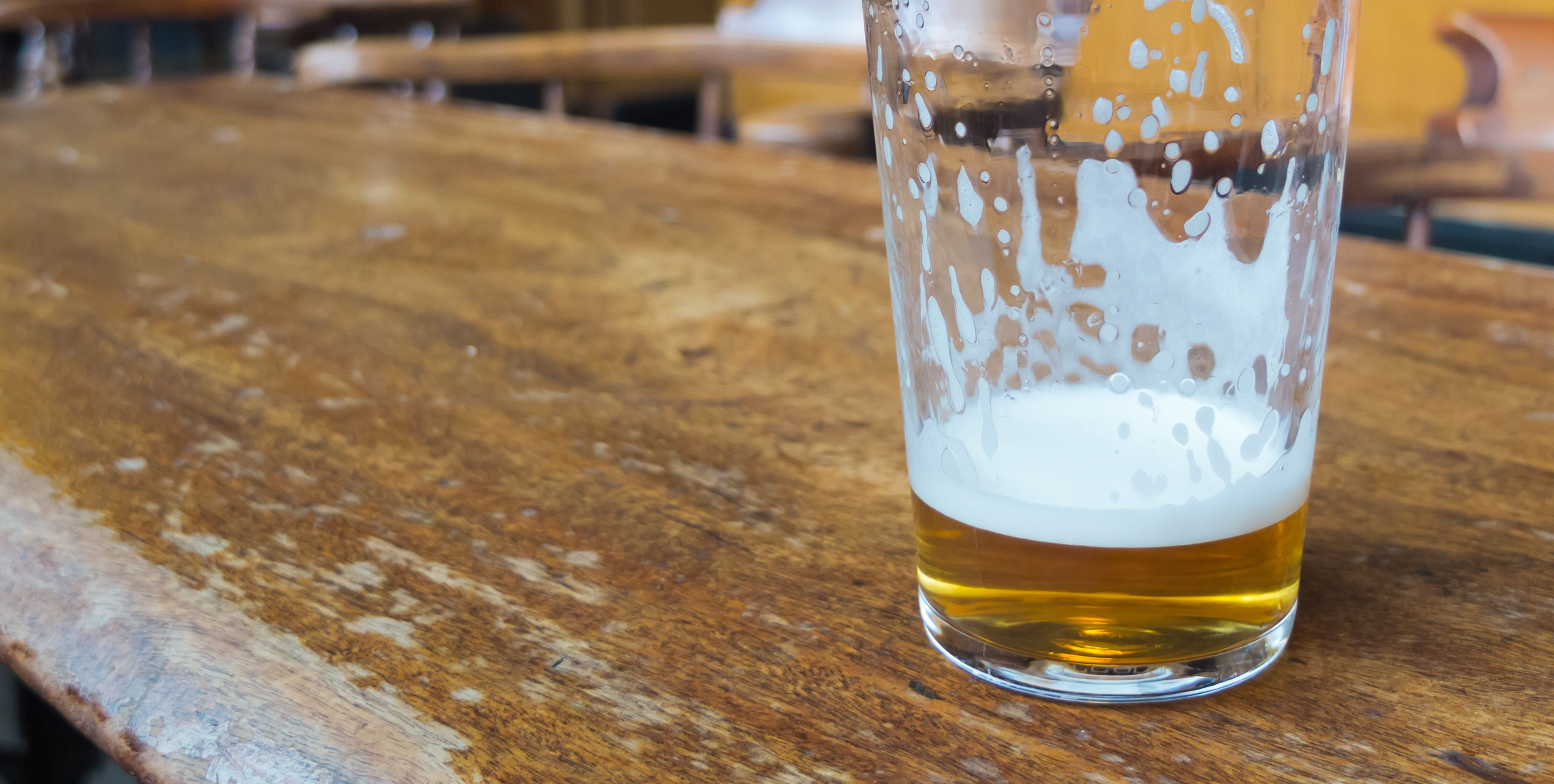 beer glass on bar table