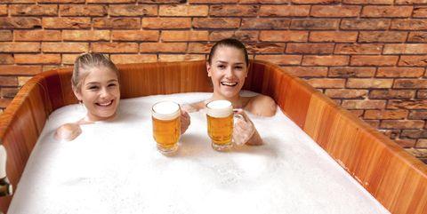 Fun, Sauna, Sitting, Leisure, Vacation, Smile, Child,