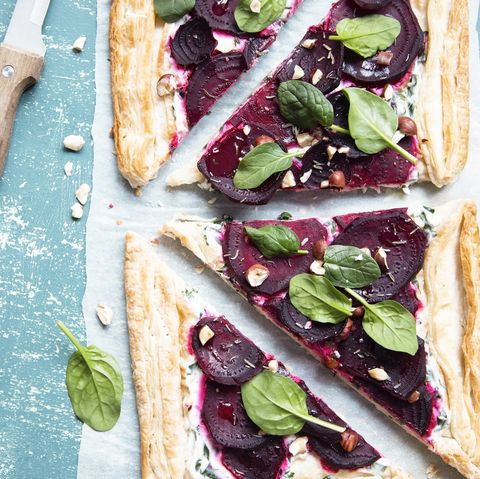 goats cheese and beetroot tartlets