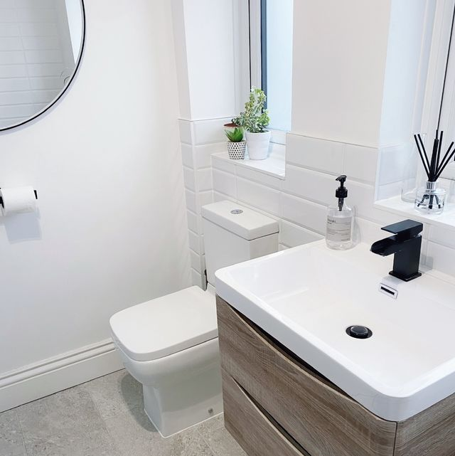 couple transform drab bathroom into stylish space