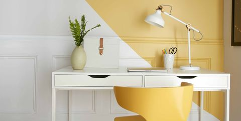 Furniture, Yellow, Room, Interior design, Wall, Tile, Property, Floor, Table, Sink,