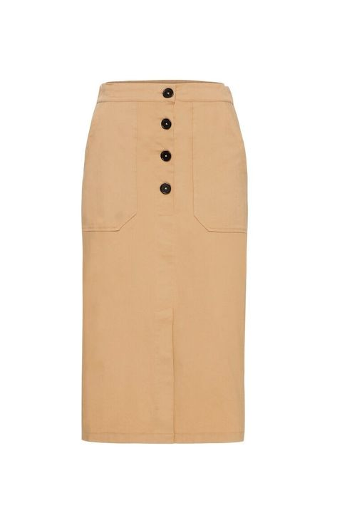 Clothing, Pencil skirt, Beige, Tan, Khaki, Trench coat, A-line,