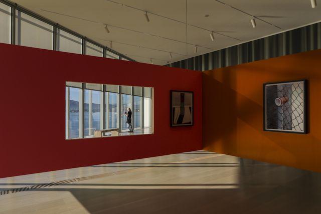 a view of thomas demands exhibition at centro botin in santander
