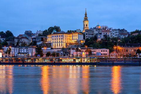 Sky, Water, Landmark, City, Reflection, Night, River, Town, Cityscape, Urban area,