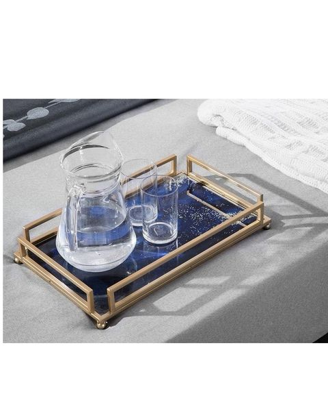 Table, Coffee table, Furniture, Tray, Serveware, Glass, Rectangle, Metal,