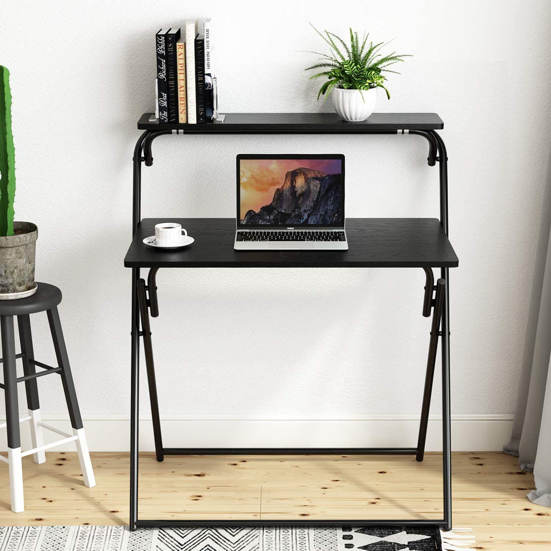 15 Folding Desks To In 2021, Portable Folding Computer Desk Laptop Table Workstation Furniture Black