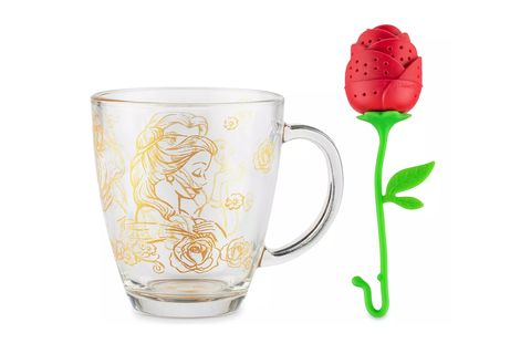 clean mug with gold detail of princess belle and a red rose tea infuser with green stem