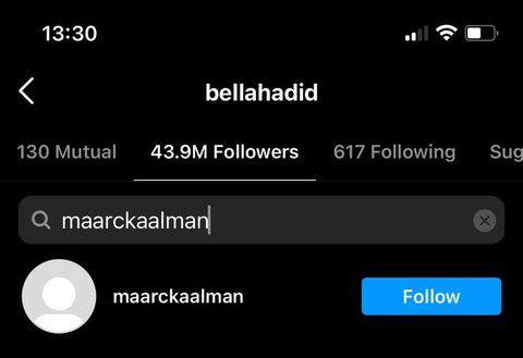 bella hadid and marc kalman follow each other