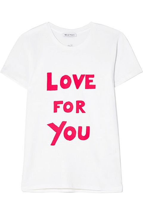 T-shirt, White, Clothing, Product, Text, Pink, Font, Top, Sleeve, Active shirt,