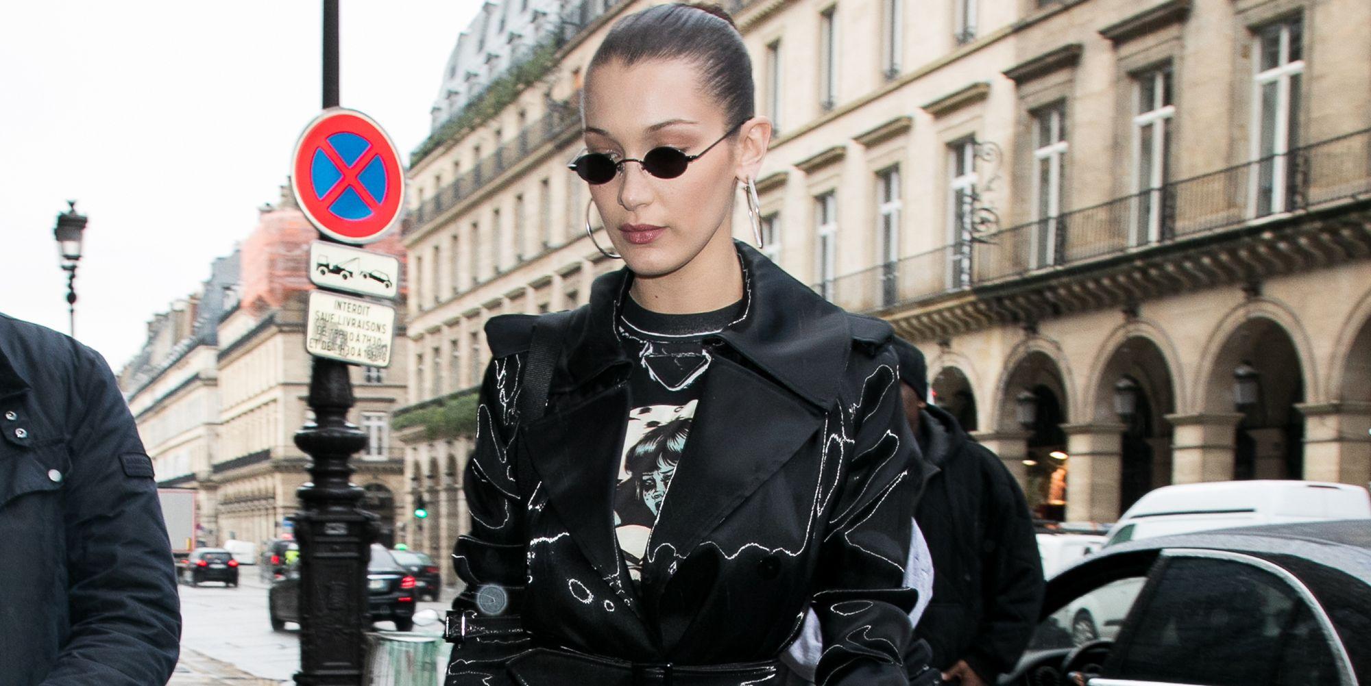 Bella Hadid wears trench coat in Paris