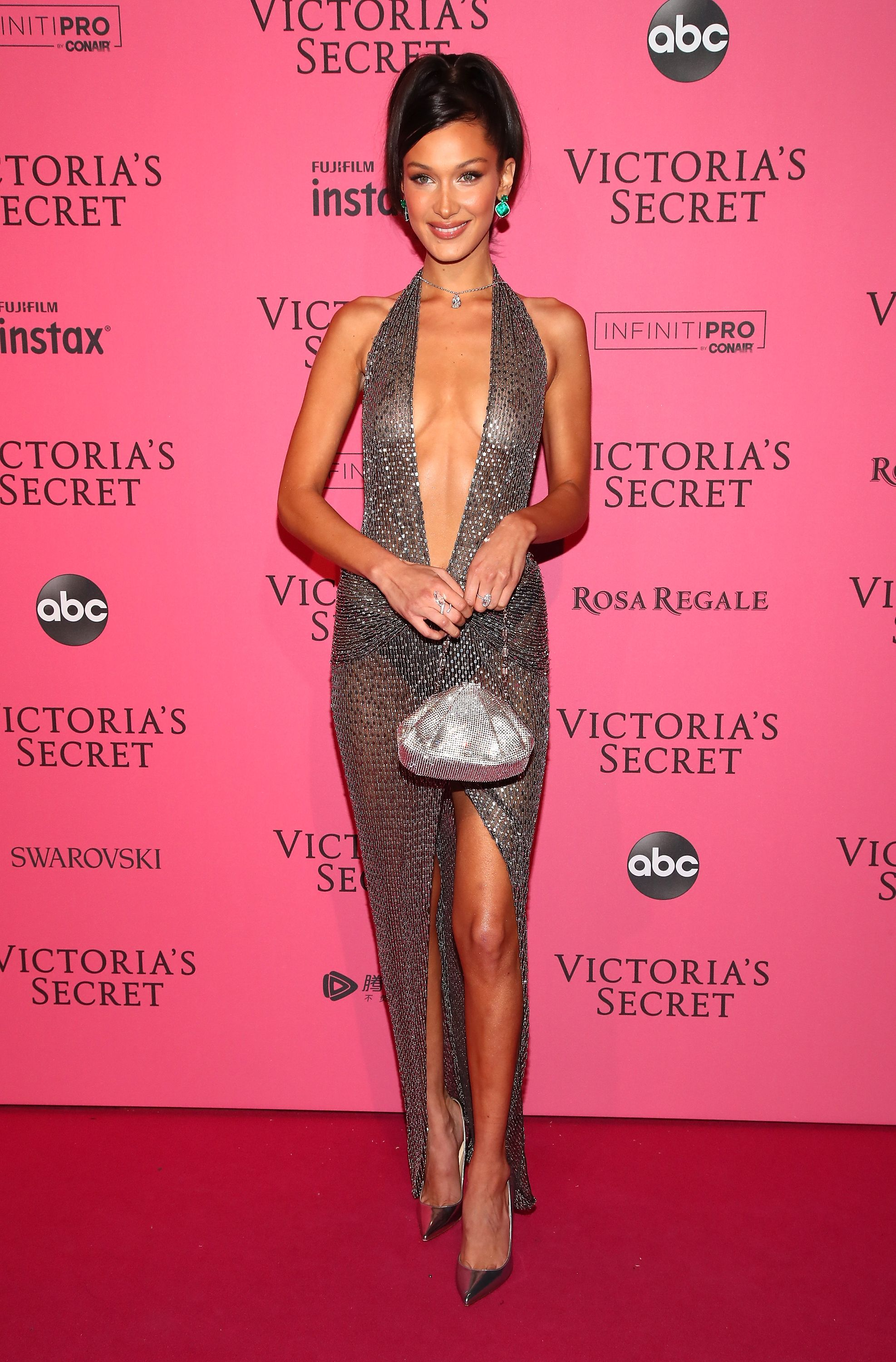 c07ccca86f Bella Hadid Wore Sheer Halter Dress at 2018 Victoria s Secret Fashion Show  After Party