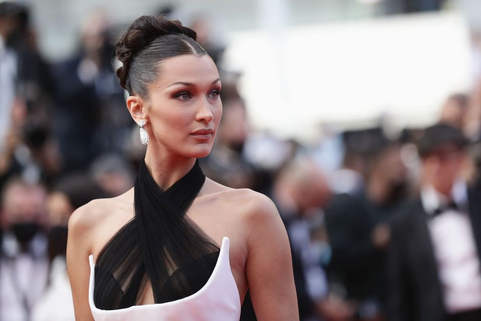 Bella Hadid Goes Old Hollywood in a Black and White Column Gown at the 2021 Cannes Film Festival