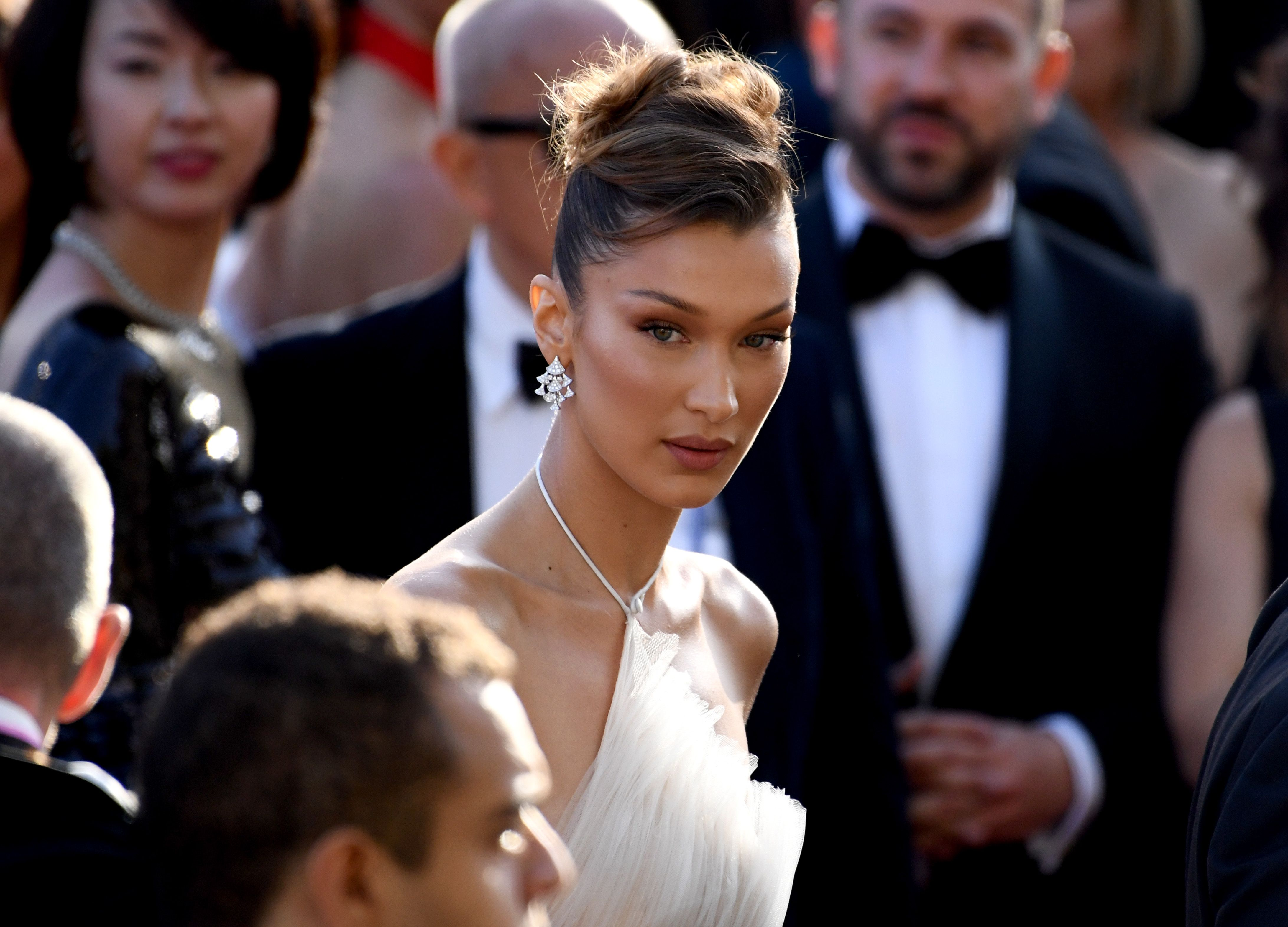Bella Hadid Looks Angelic in a White Tiered Gown at the Cannes Film Festival 'Rocketman' Premiere