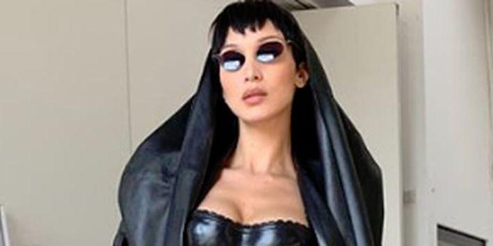 Bella Hadid Wears A Kinky Matrix Inspired Outfit On Instagram