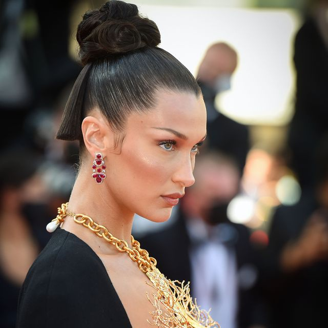 cannes, france   july 11  bella hadid attends the tre piani three floors screening during the 74th annual cannes film festival on july 11, 2021 in cannes, france photo by stephane cardinale   corbiscorbis via getty images