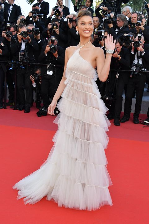 bella hadid cannes white dress