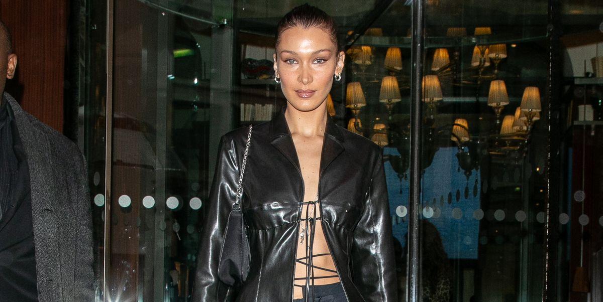 Bella Hadid gespot in stijlvolle Matrix-geïnspireerde look in Parijs - glamour.nl