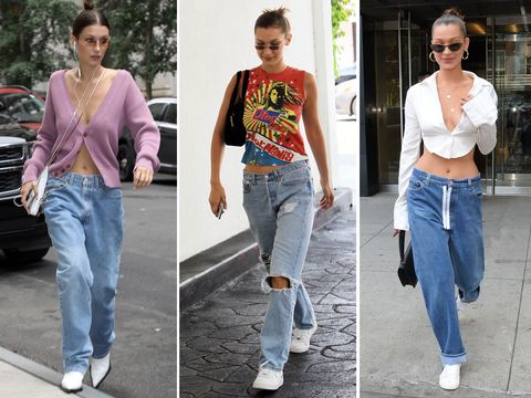Bella Hadid in low-rise jeans