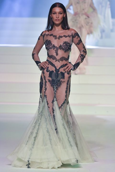 bella hadid naked dress jean paul gaultier