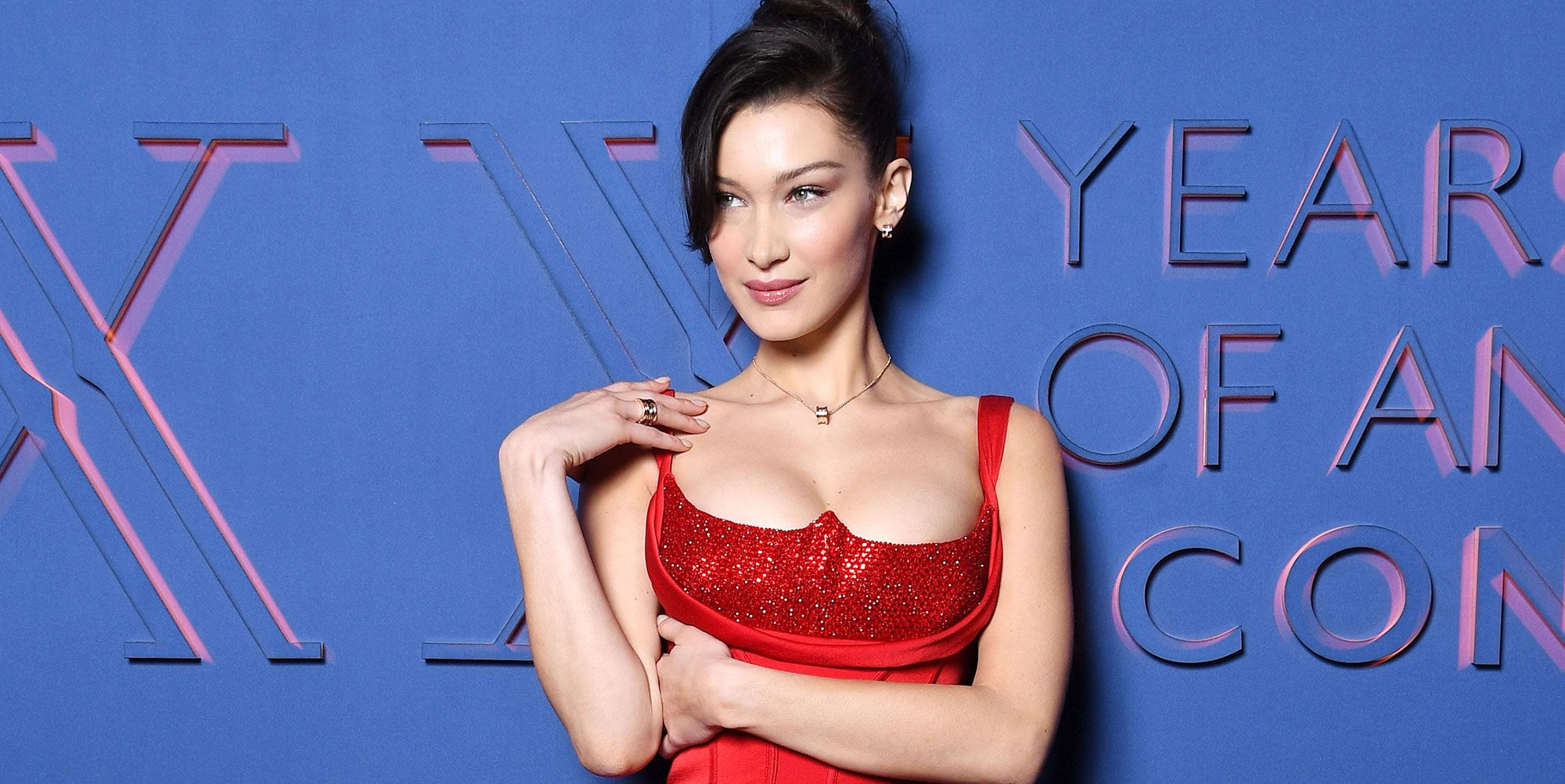 Bella Hadid dazzles in red corseted Versace dress in Rome