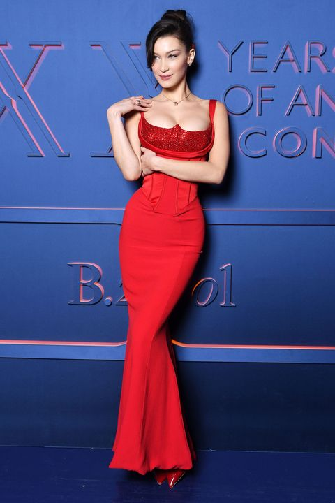 b91528698d8 Bella Hadid dazzles in red corseted Versace dress in Rome