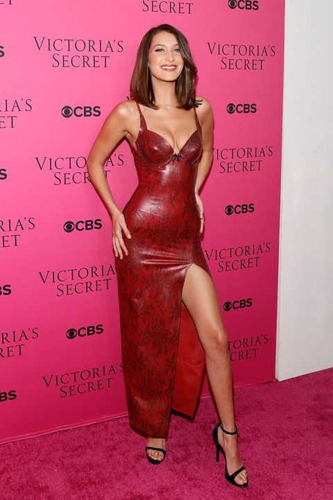 5a1f4ce8328 Bella Hadid just wore a skintight PVC snakeskin dress and looked ...