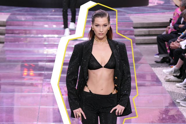 milan, italy   june 15 bella hadid, walks the runway at the versace fashion show during the milan men's fashion week springsummer 2020 on june 15, 2019 in milan, italy photo by victor boykogetty images