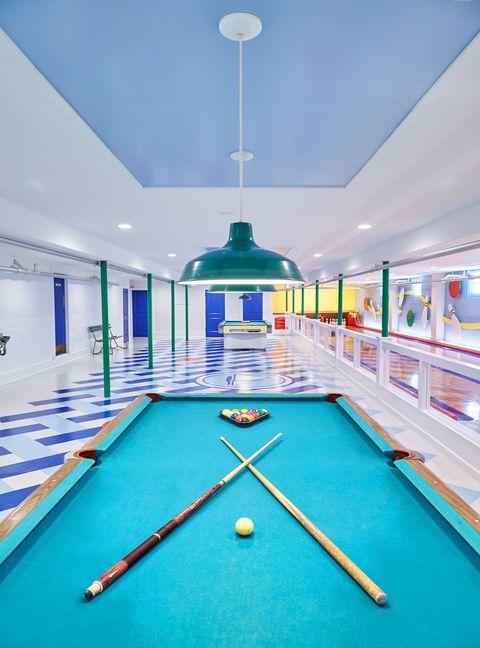 Billiard room, Pool, Billiard table, Room, English billiards, Games, Blue, Recreation room, Table, Ceiling,