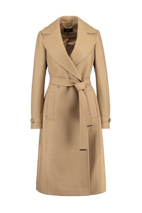 Karen Millen simple classic camel coat with belt waist
