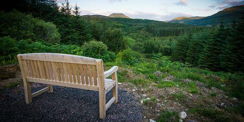 Nature, Natural landscape, Sky, Mountain, Wilderness, Green, Mountainous landforms, Bench, Natural environment, Furniture,