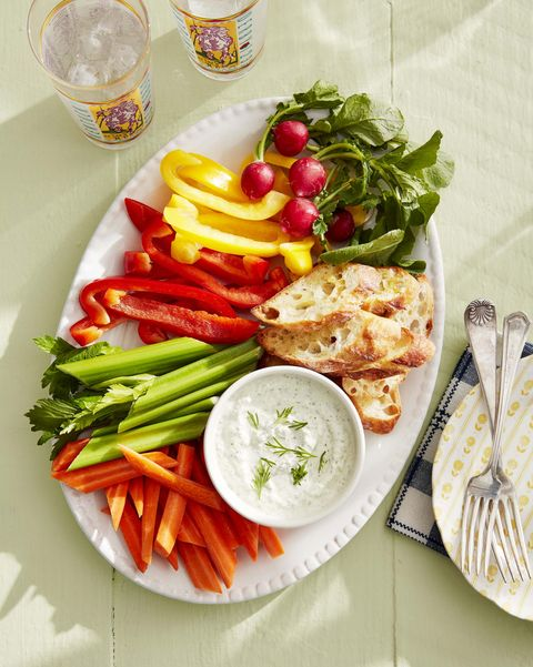platter with veggies and dip