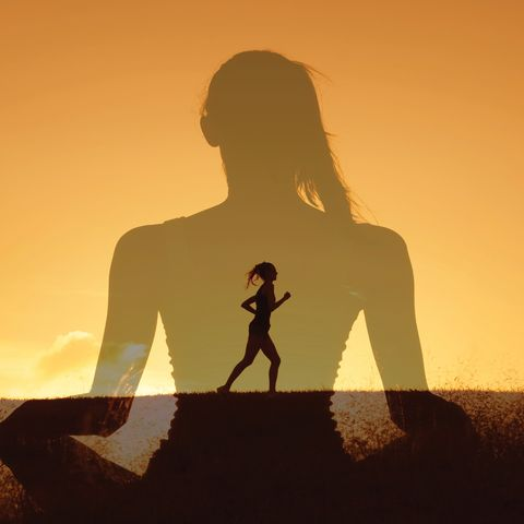 woman meditating overlapped with woman running