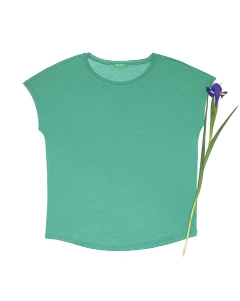 Green, Clothing, T-shirt, Sleeve, Turquoise, Crop top, Blouse, Top, Outerwear, Shirt,
