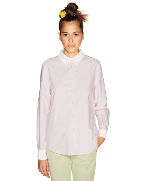 Clothing, White, Sleeve, Neck, Pink, Collar, Top, Outerwear, Shirt, Blouse,