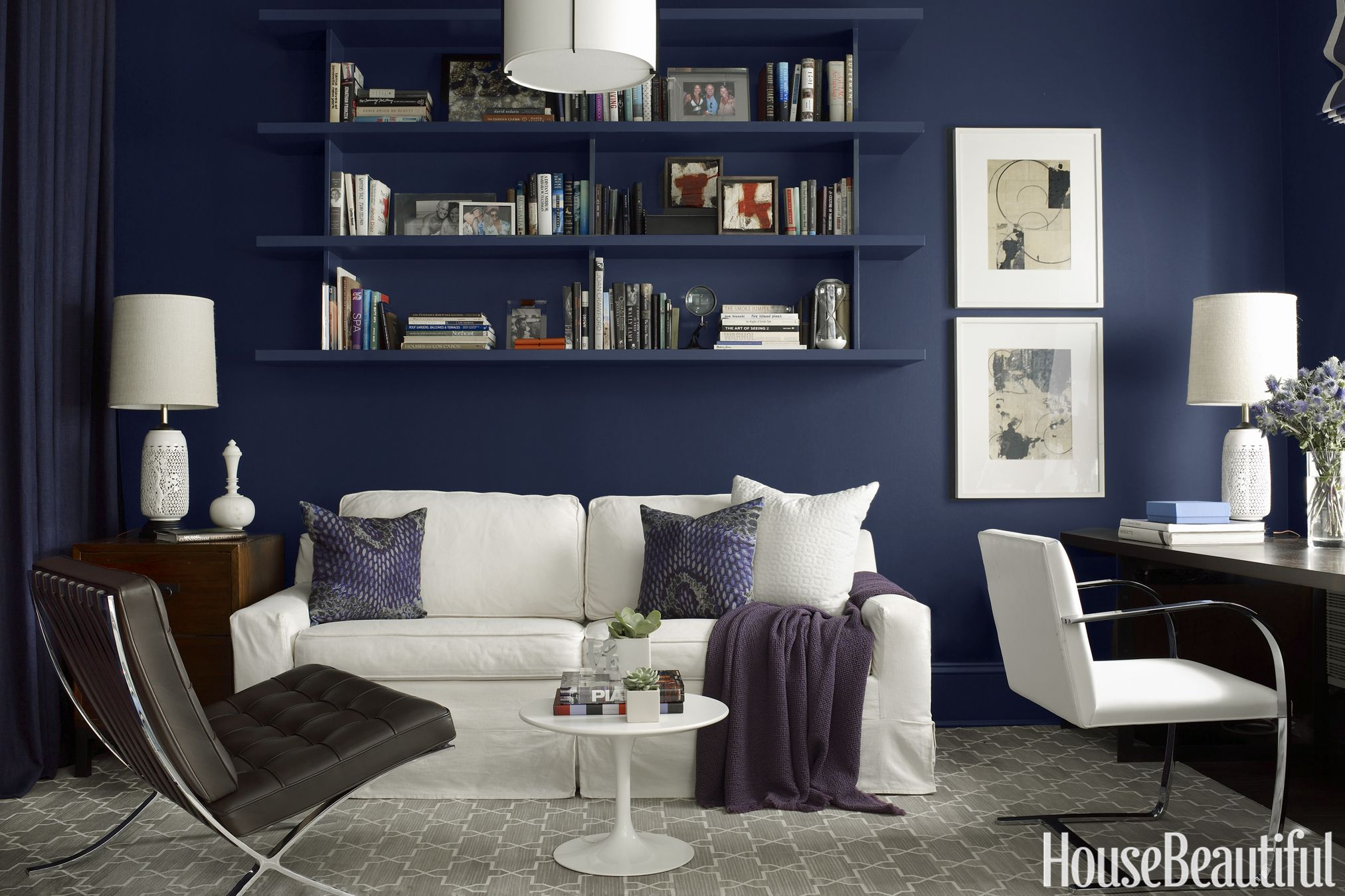 Beautiful Benjamin Moore Hale Navy Library