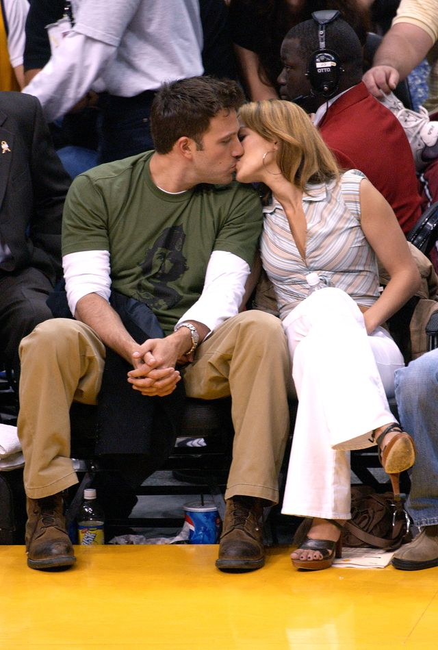 los angeles   may 11  file photo actor ben affleck l and his fiance actresssinger jennifer lopez attend the los angeles lakers v san antonio spurs playoff game at the staples center may 11, 2003 in los angeles, california  lopez and affleck postponed their wedding, which was scheduled for this weekend, and has now reportedly spit up, possibly temporarily  photo by vince buccigetty images