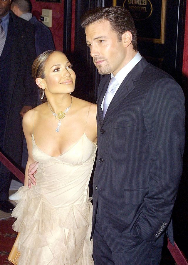 new york, united states  us actors jennifer lopez l and boyfriend ben affleck r arrive at the premiere of lopezs new film maid in manhattan in new york 08 december 2002 afp photo doug kanter photo credit should read doug kanterafp via getty images