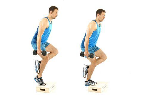 model doing bent knee calf raises