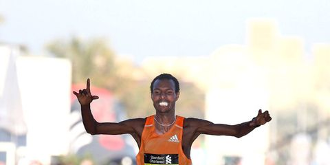 Lemi Berhanu winning 2015 Dubai Marathon